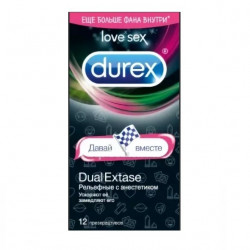 Buy Durex condoms dual extase with anesthetic embossed option 2 No. 12 emoji